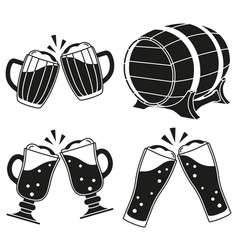 black and white draft beer silhouette set vector image