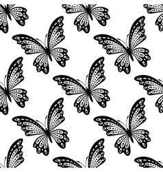 black and white seamless pattern butterflies vector image