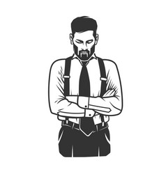 Black and white stylish man logo vector