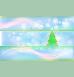 blue christmas background with green tree and vector image