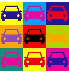 Car sign Pop-art style icons set vector image
