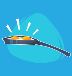 cartoon home kitchen pan with fried eggs vector image