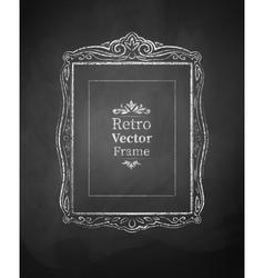 Chalked vintage baroque frame vector