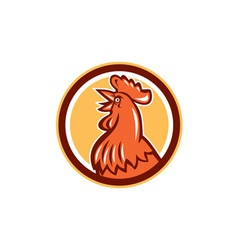 Chicken Rooster Head Crowing Circle Retro vector