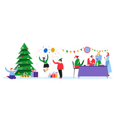 christmas party for kids and parents xmas holiday vector image