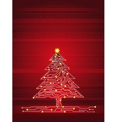 Christmas tree made of electronics elements vector