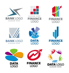 Collection of logos for banks and finance c vector