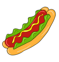 Colored hand drawn hot dog sandwich vector