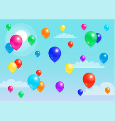 colorful balloons flying blue sky rubber balloon vector image