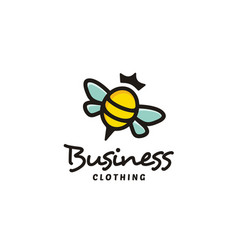 Colorful cute bee queen with crown logo design vector