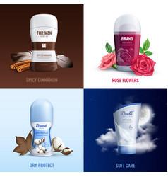 Deodorant bottles 2x2 design concept vector