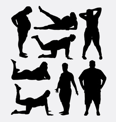 Fat people silhouette vector