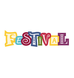 Festival in white with colorful outlines vector