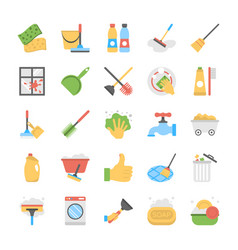Flat icon set of cleaning equipment vector