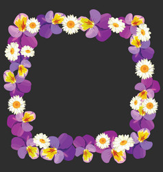 Floral empty frame on black background vector