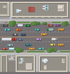 Fragment of city map with roofs roads and cars vector