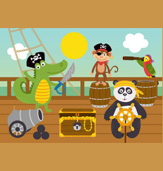 funny animal pirates on deck ship vector image