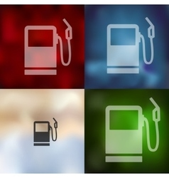 Gas station icon on blurred background vector