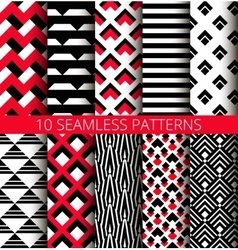 Geometric White Black Red Patterns vector image