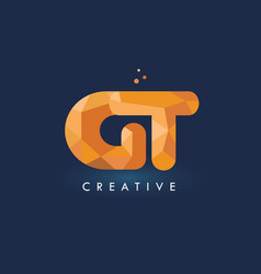 Gt letter with origami triangles logo creative vector