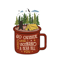Hand drawn adventure logo with mug camp tent vector