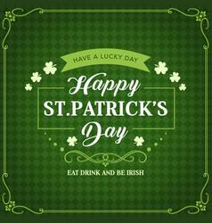 happy patricks day green shamrock pattern vector image