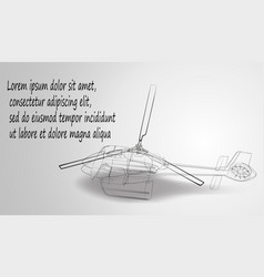 helicopter of black lines on a white background vector image