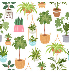 home green potted plants seamless pattern vector image