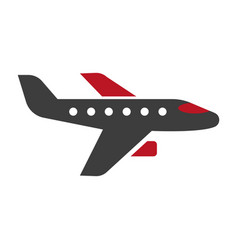 Horizontal black and red aircraft hand drawn icon vector