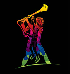 Hurling sport players action vector