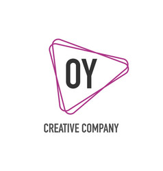 initial letter oy triangle design logo concept vector image