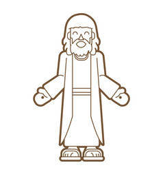 jesus cartoon outline graphic vector image