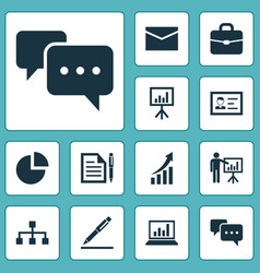 Job icons set collection of envelope chatting vector