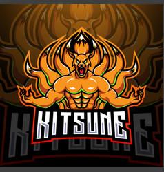 kitsune esport mascot logo design vector image
