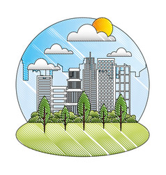 landscape city buildings park trees sunny day vector image