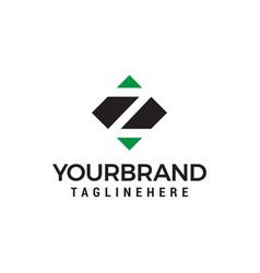 letter z negative space square logo design vector image