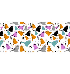 little cats pattern pattern with cute cartoon vector image