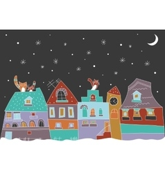 Little town at the winter vector image