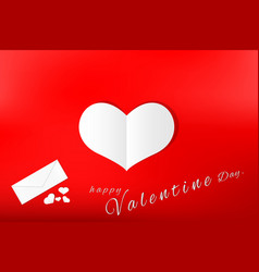 love card valentines day paper cut heart white vector image