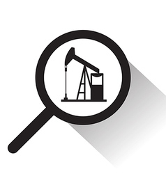 Magnifying glass with Oil pump icon vector