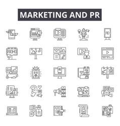 Marketing pr line icons signs set vector