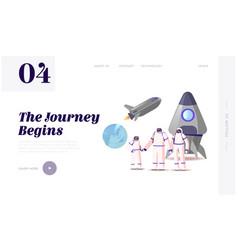 Mars or alien planet colonization landing page vector