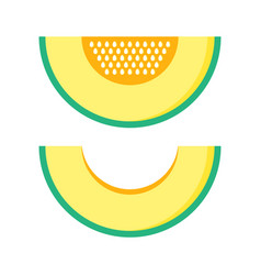 melon slice with and without seeds vector image vector image