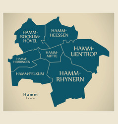 Modern city map - hamm city of germany with vector