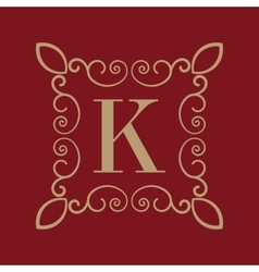 Monogram letter K Calligraphic ornament Gold vector image vector image