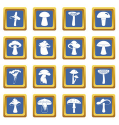 Mushroom icons set blue vector