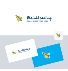 paper plane logotype with business card template vector image