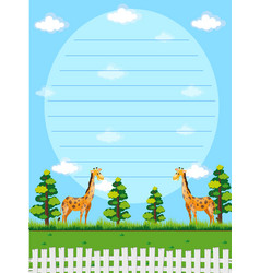 Paper template with giraffes in background vector