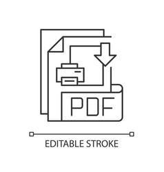 pdf file pixel perfect linear icon vector image