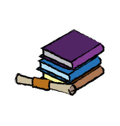 Pile of books education diploma school concept vector